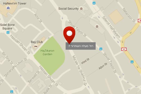מפה - סניף חיפה - חברת עורכי דין מלי טייב מומחים במחיקת חובות