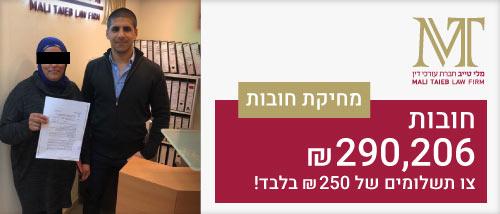 מחיקת חובות של 290,026 אלף ₪ בתשלום של 250 ₪ - חברת עורכי דין מלי טייב