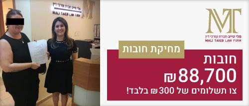 מחיקת חובות של 88,700 אלף ₪ בתשלום של 300 ₪ - חברת עורכי דין מלי טייב